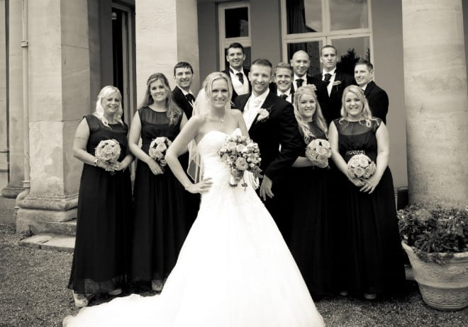 Bride and groomsmen. Venue Downhall.  John Paul ODonnell Photography Hertfordshire