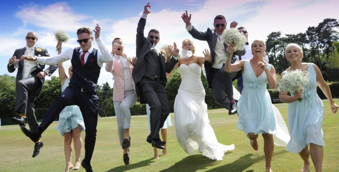 wedding party jumping for fun at the wedding. John Paul ODonnell Photography Hertfordshire