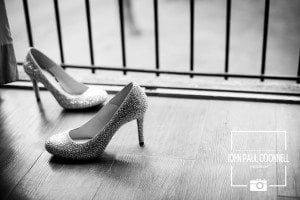 These are the Brides shoes photographed on the balcony at Great Hallingbury