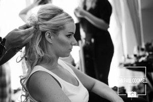 This is a picture of the beautiful Brides having her hair being done at Great Hallingbury