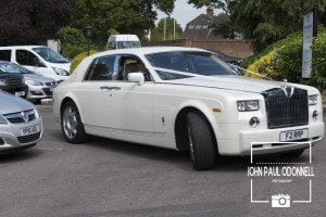 Rolls Royce Phantom as it arrives with the bride and her dad at the Ceremony