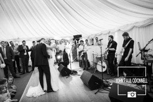 Bride and Groom first dance at Newland Hall photograph in black and white