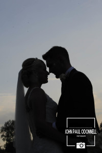 Bride and Groom sunset picture taken at Newland Hall early evening