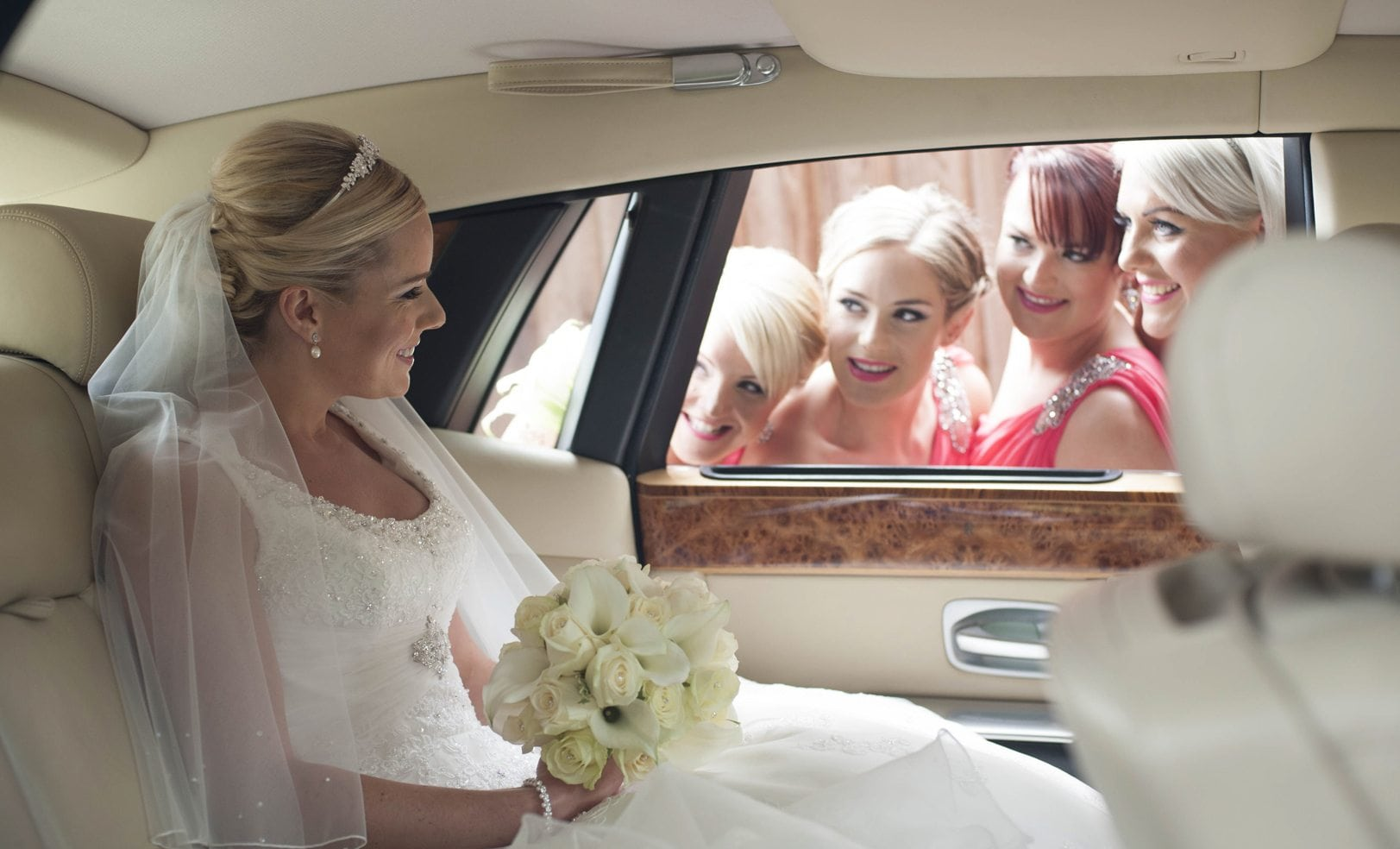 Bride in Wedding car Hertfordhsire