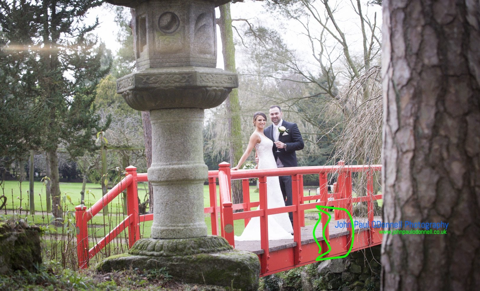 Bride and Groom on Bridge Hertfordshire