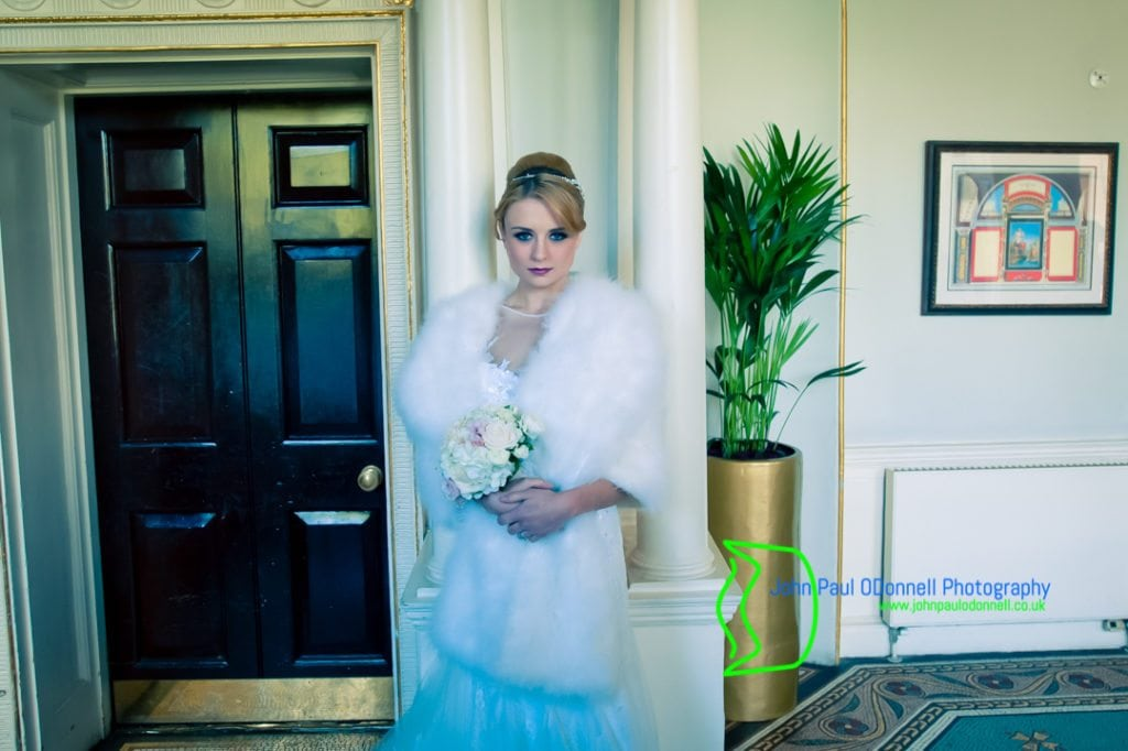 A Bride by the Staircase at The Mansion House of Theobalds Park