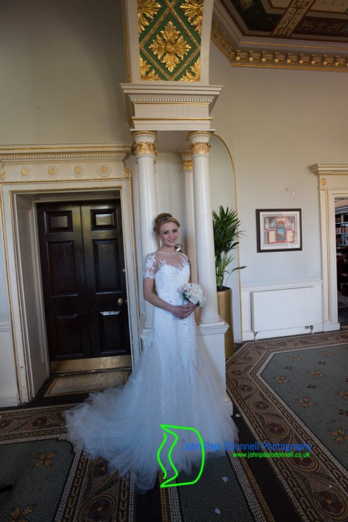 A Bride in the Foyer at The Mansion House of Theobalds Park