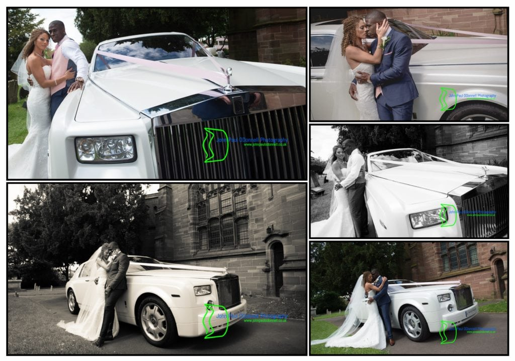 Carmen and Dwain - Hanbury Manor (5). Image of the Bride and Groom with a Rolls Royce Phantom Wedding car. Image by John Paul ODonnell Photography
