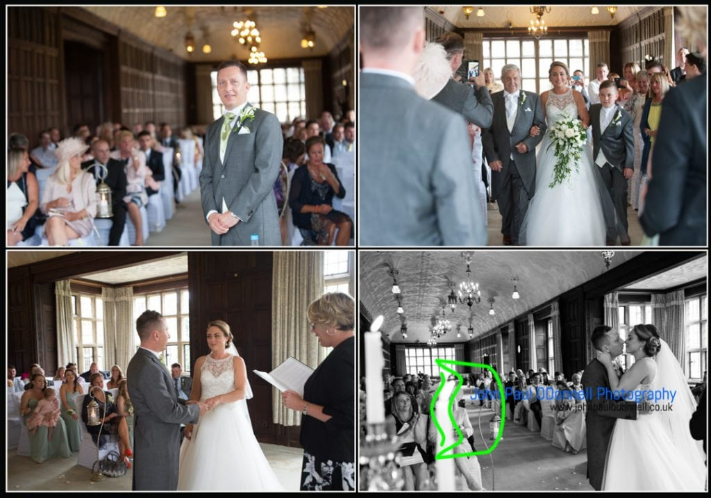 The wedding ceremony in the long gallery at fanhams hall