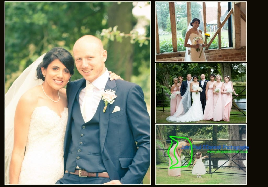 image of the bride and groom in the gardens of Blake Hall