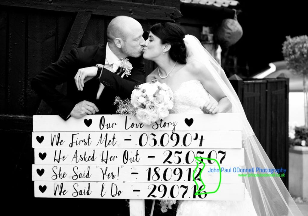 image of the bride and groom with a love sign