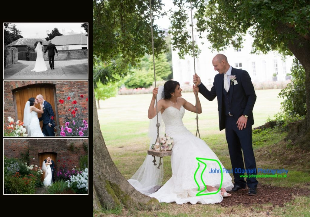 image of the bride and groom on a swing at Blake Hall