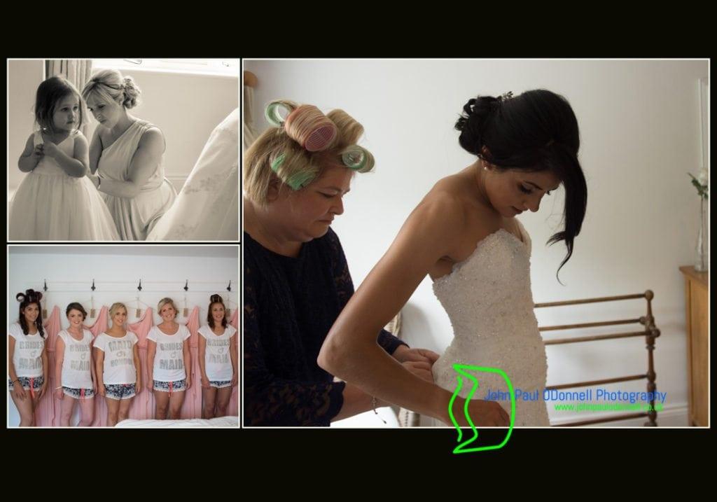 Bride getting into her wedding dress