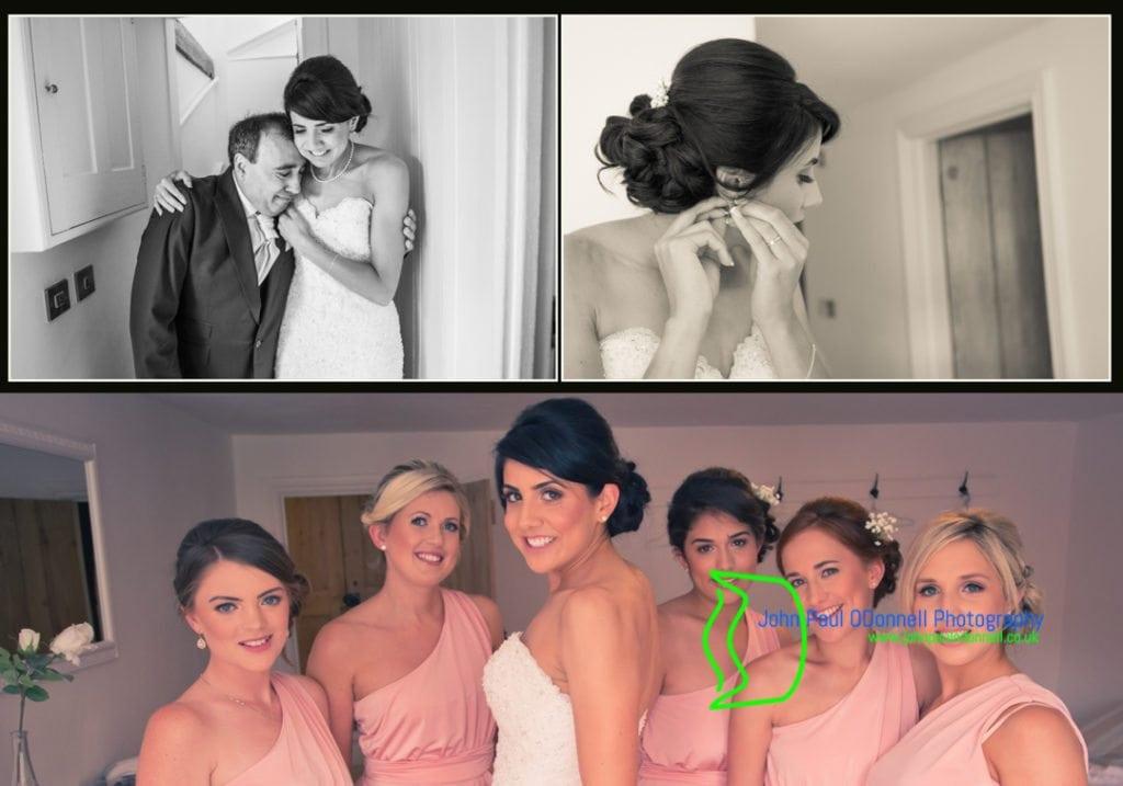 Bride and bridesmaids ready