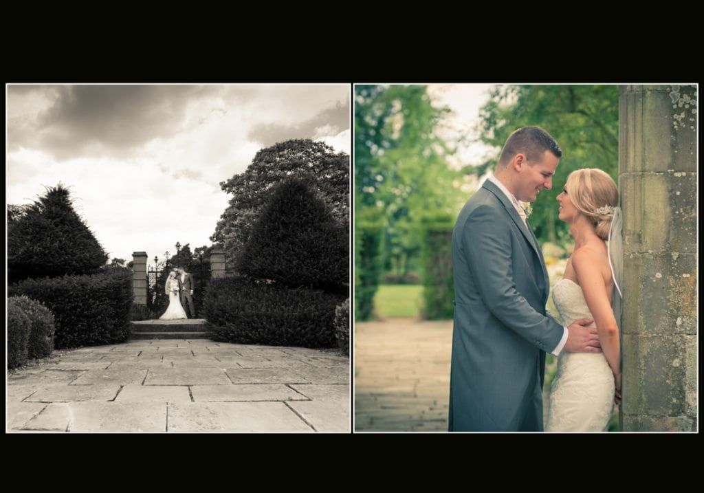 image is of the bride and groom in the main grounds