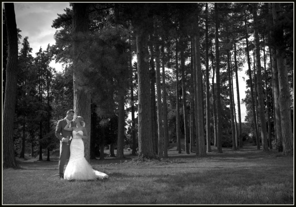 This is a image is of the bride in the forest at Fanhams Hall Hotel