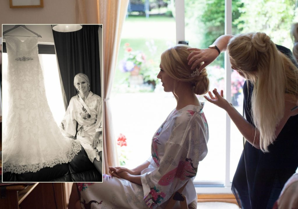 This image is of the bride sitting down having her hair and make up done