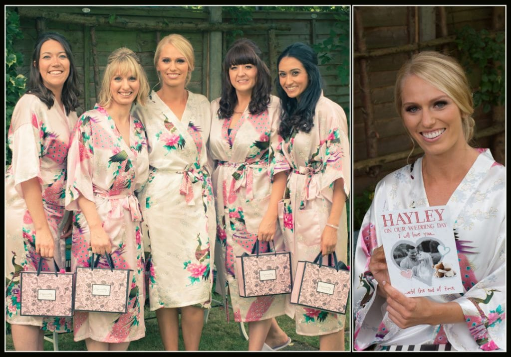 This image is of the bride with her bridesmaids before getting into her wedding dress