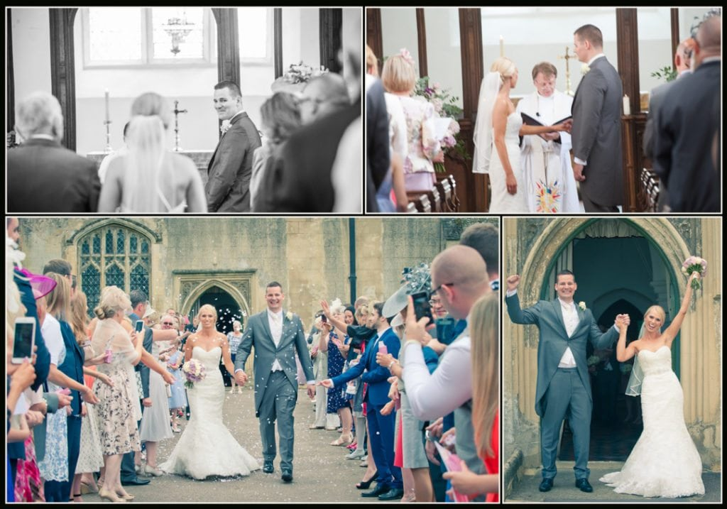bride and groom as they came out of the church to see their guests throwing confetti