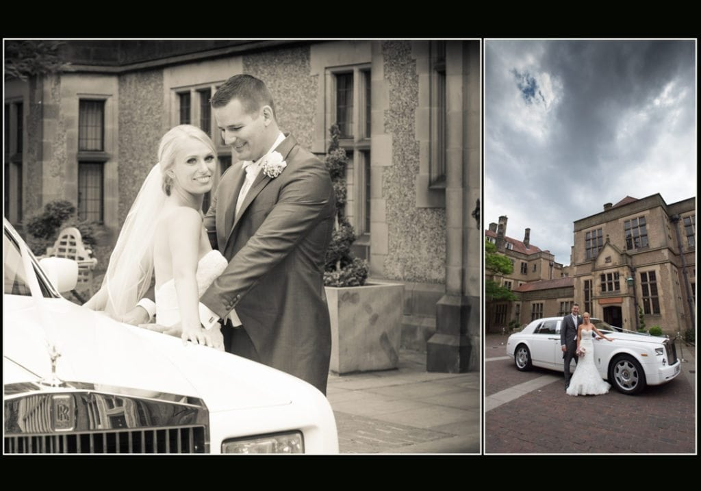image is of the bride and groom in the courtyard at Fanhams Hall