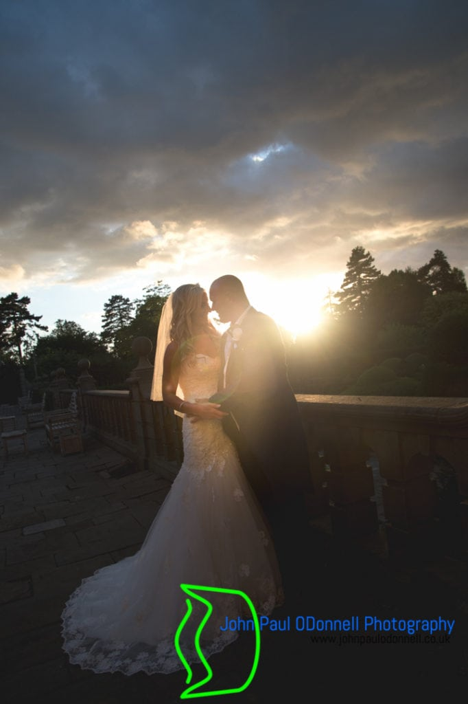 bride and groom sunset at fanhams hall