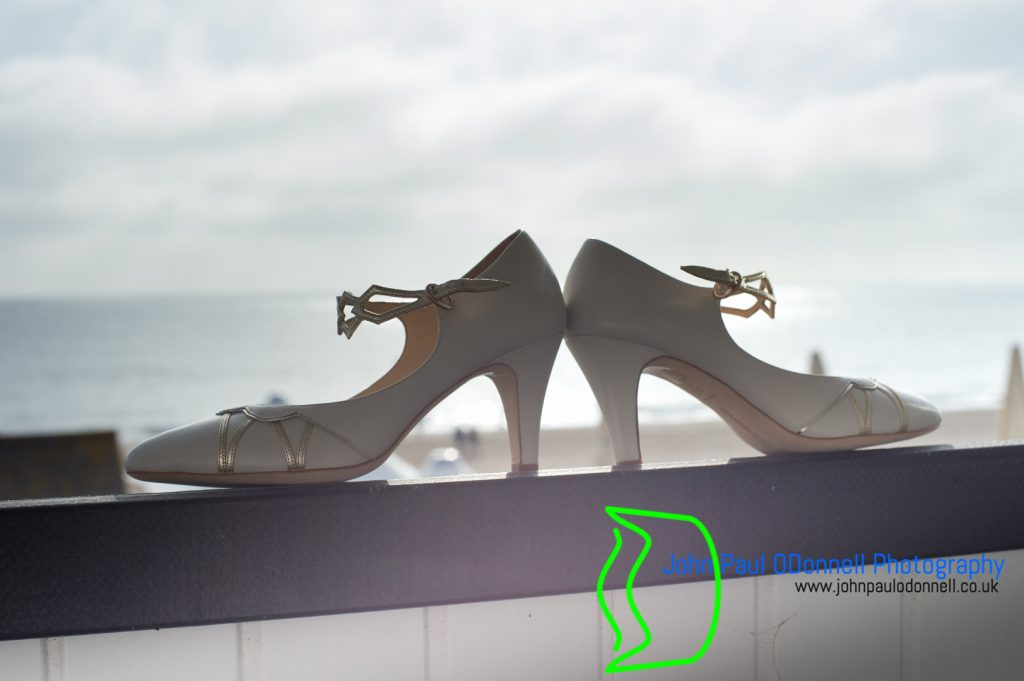 Brides shoes stain the background
