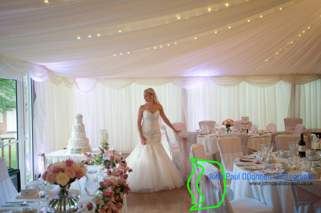The bride in the marquee at mulberry house