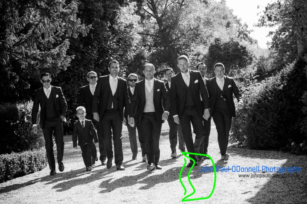 Groom and groomsmen arriving at mulberry house