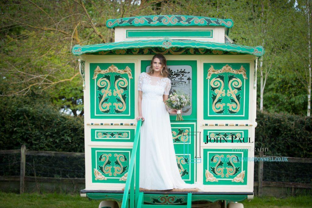 gypsy caravan bride and groom
